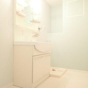 脱衣所の壁紙もかわいいですよ。収納できるスペースもあります