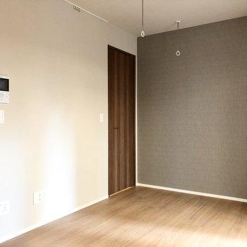 写真左奥のドアは収納になっています。