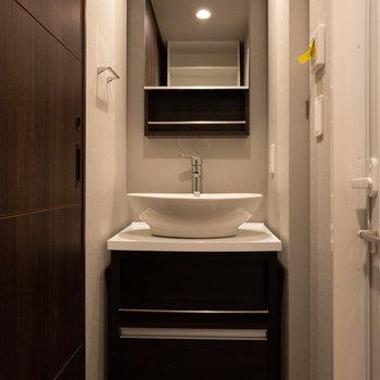 洗面台はおしゃれでかっこいいいです※写真は5階の同間取り別部屋のものです