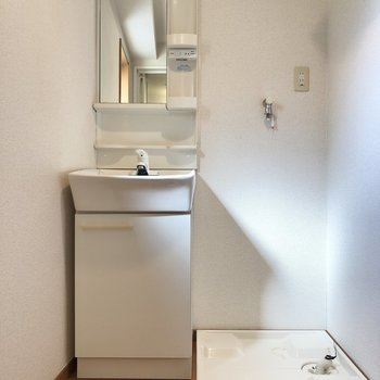洗面所のよこの棚には、ドライヤーなどが置けますね。