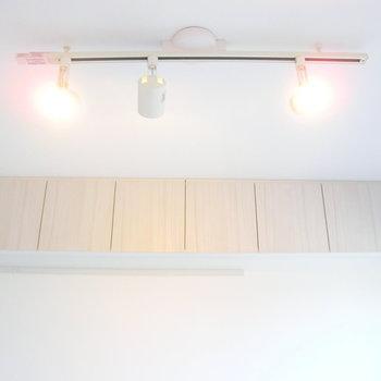 ライティングレールと棚のコラボ※写真は4階の反転間取り別部屋のものです