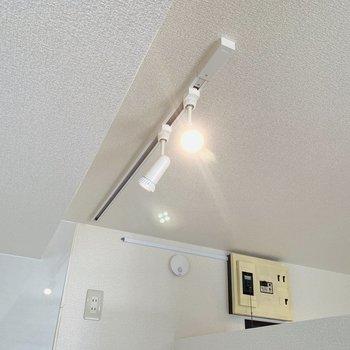 ライティングレールの照明はお好みに調整して。