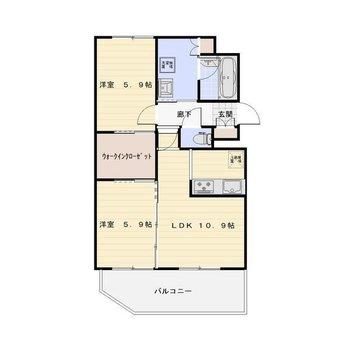 LDK10.9×洋5.9×洋5.9 2つの洋室は同じ広さ