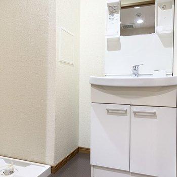 清潔感のある脱衣スペース。
