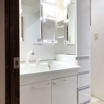 入ってすぐの場所に洗面台。脇にも鏡があります。