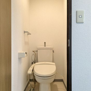 脱衣所から2メートルほどの場所には奥行きのあるトイレ。
