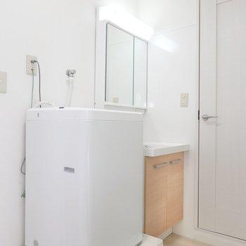 廊下出てすぐ左に洗濯機置場と洗面台。