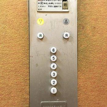 レトロなボタンをポチッ!エレベーターでサクサク移動。