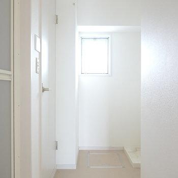 左手前がお風呂、左奥がトイレ、右手前が洗面台で右奥が洗濯パン。