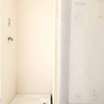 洗濯パンと給湯機はカーテンで目隠し可能◎