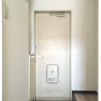 玄関は1段下がっているタイプ。ホコリがお部屋に入りにくいね。