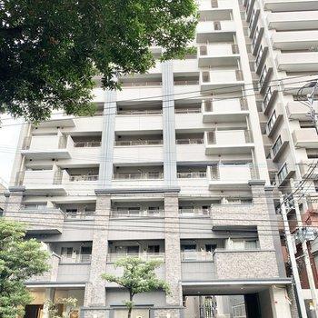 道路沿いの10階建てマンション。今回のお部屋は9階です。