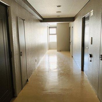 共用廊下はスペースゆったり目