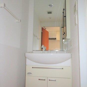 大きな鏡のあるシャンプードレッサー。※写真は14階同間取り・別部屋のものです。