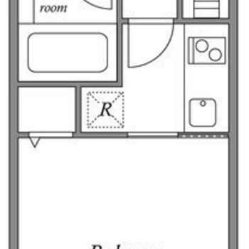 1Kのお部屋です(※実際とは反転の間取り図です)