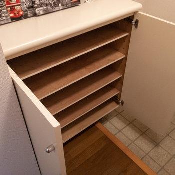 シューズボックスは5段ですが、ラックを設置してもいいですね。※写真は1階の反転間取り別部屋のものです