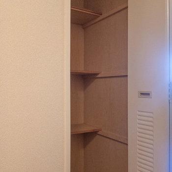 廊下には収納があります。清掃用品などもしまっておけます。※写真は1階の同間取り別部屋のものです