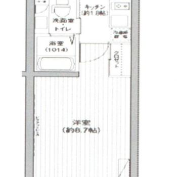 居室がシンプルな形で使いやすそうな1K