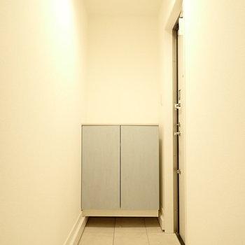 玄関は広いです。シューズボックスの色もいいですね。※写真は1階同間取り・別部屋のものです。