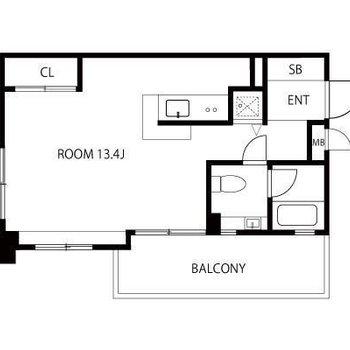 ゆったりとしたワンルームのお部屋です(※実際とは反転の間取り図です)
