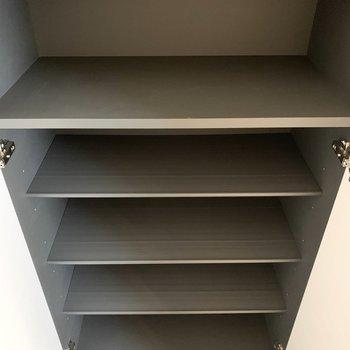 半分に分かれて上下に3枚ずつ可動棚板が設置されています。