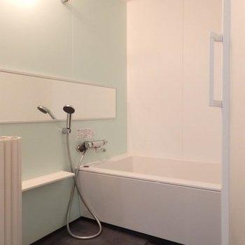 ホテル風の長細い鏡が設けられたお風呂。