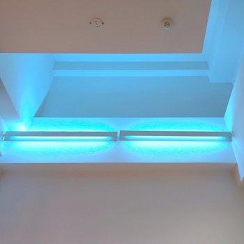 【2F】天井が高い…!青い光に吸い込まれそう。
