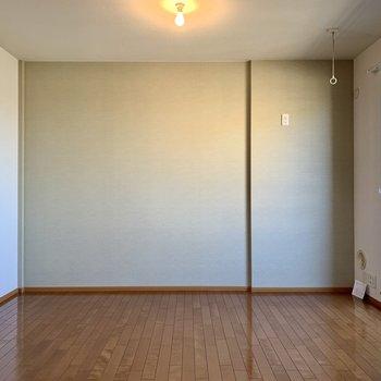 【LDK】サイドの壁はアクセントでモスグリーン