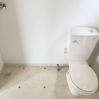 バスユニットの向かいにおトイレと洗濯機置場。パンはないタイプ。