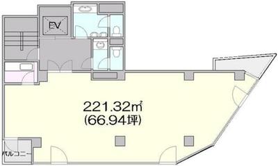 明治神宮前 66.95坪 オフィス の間取り