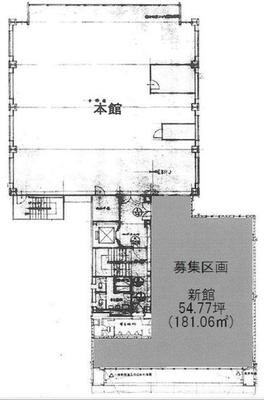 新日本橋 54.8坪 オフィス の間取り