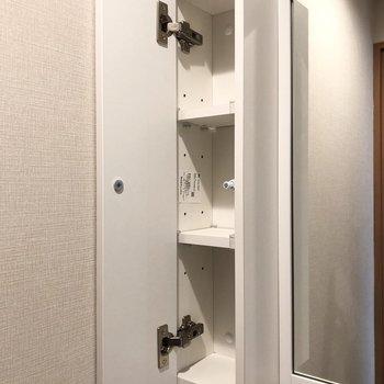 鏡の横には扉付きの収納があります。