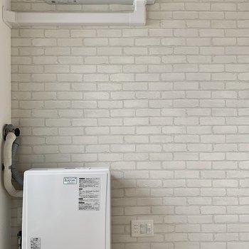 可愛いレンガクロス◎冷暖房もしっかり完備