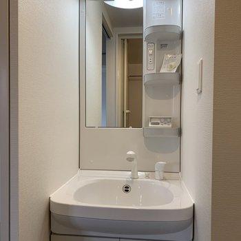 洗面台は独立式で収納豊富