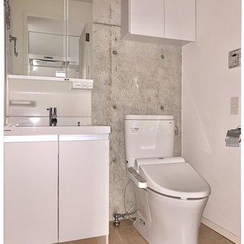 洗面台の下には、体重計や珪藻土をしまうのにちょうど良さそうなスペース。※フラッシュを使用して撮影しています