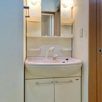 洗面台にも電気が付いているのでメイクなどもしやすいです。