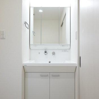 広い鏡の洗面台を見るとつい嬉しくなりません?朝の支度がはかどりそうだ。