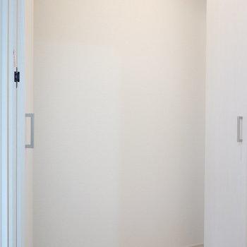 洋室出てすぐ左に見たことない形状の収納が!薄いモノがピッタリかな。