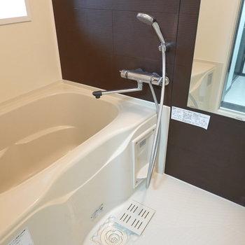 浴槽が広々〜!なお風呂。落ち着けそうな色味の壁だなぁ。