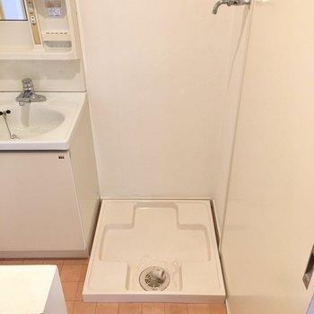 洗濯機置き場も横にすっぽり。