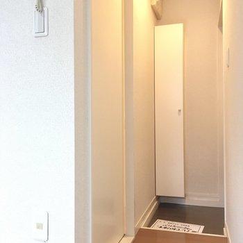 玄関廊下に大きな白の扉。