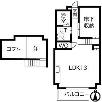 間取りは立体的な1LDK。ロフト・床下収納付き。