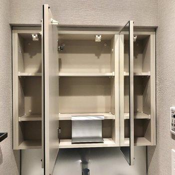 鏡の裏が収納になっています。※写真は9階の同間取り別部屋のものです