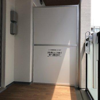 バルコニーもたっぷりスペースがありました。※写真は9階の同間取り別部屋のものです