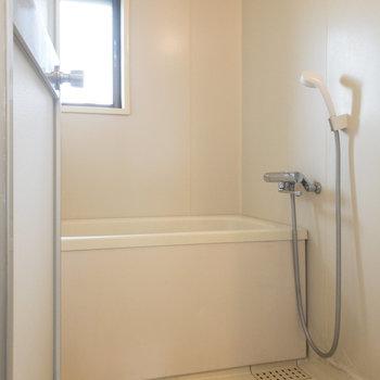 脱衣所の奥にはシンプルな浴室があります。