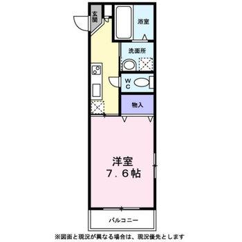 1Kのシンプルな間取り。最上階角部屋です。