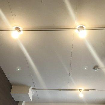 無骨な白い天井にダクトレールがいくつかあります。