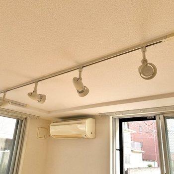 向きを変えられるシーリングランプが4つ。