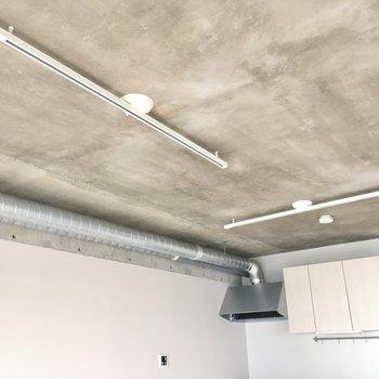 天井にはライティングレール。どんな照明を飾ろうか。