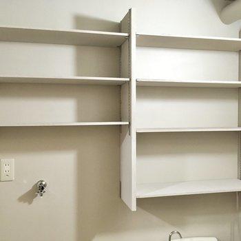 上部には可動式の棚が備え付け!タオルなどここにしまえそうです。
